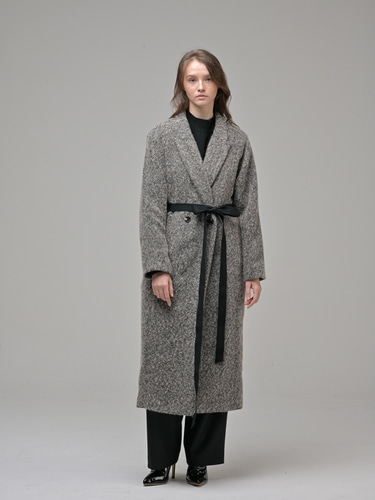 [Coett] Herringbone Mohair Long Coat_DARK BROWN