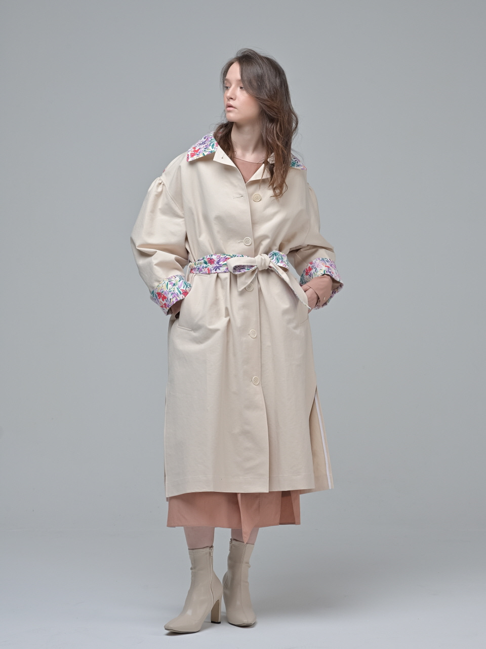 [Coett] Flower Trench Coat_PEACH