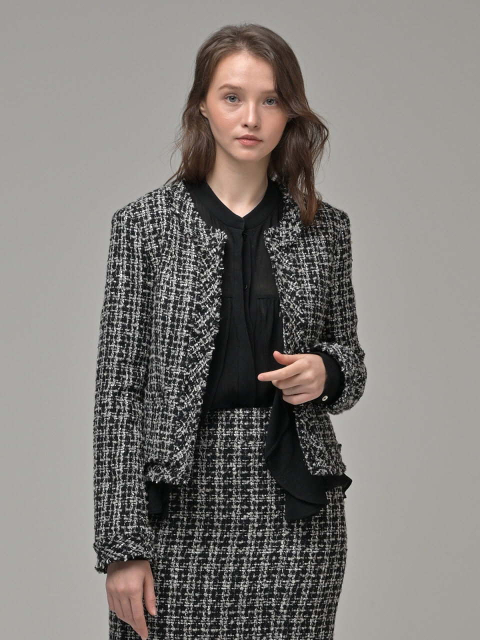 [Coett] Tweed Short Jacket_BLACK