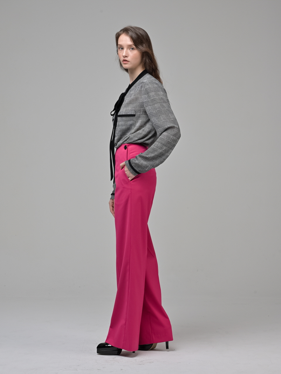 [Coett] Side Button Pants_MAGENTA